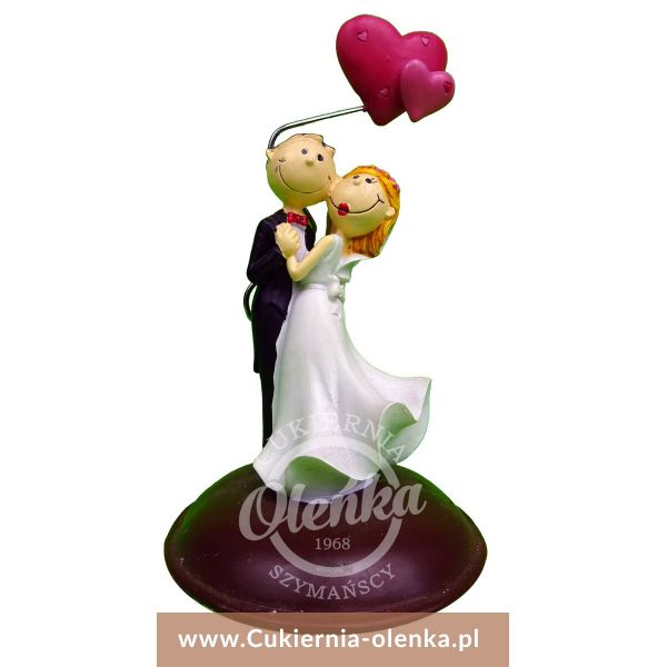 Figurka weselna Para Młoda 2 serca